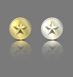 Gold and silver stars on a coin with reflection vector