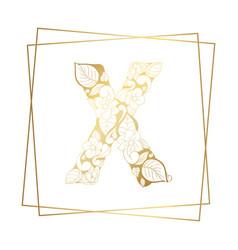 golden ornamental alphabet letter x font on white vector image