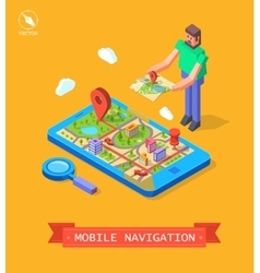 GPS in mobile Navigation vector image
