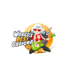 Grandma plays guitar forever young old lady rock vector