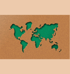 Green eco earth world map in paper cut style vector