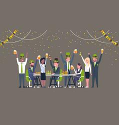 Group office workers celebrate saint patricks vector