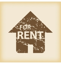 Grungy house for rent icon vector