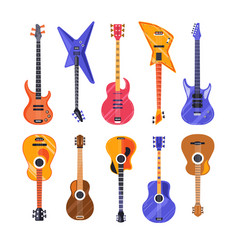 guitars electric and acoustic musical instruments vector image