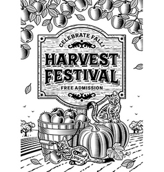Harvest Festival Poster Black And White vector
