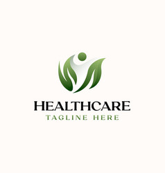 healthcare people leaf logo template isolated vector image