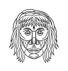 homo habilis face front drawing vector image