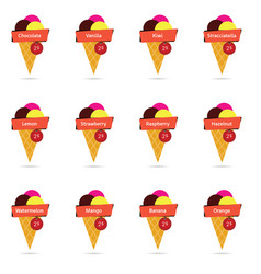 ice cream with red tag price vector image