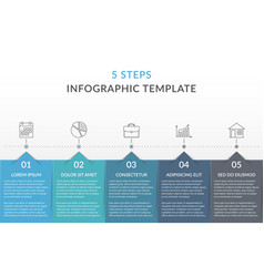 Infographic template with 5 steps vector