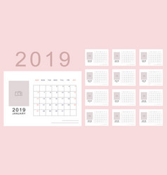 Light pink minimalistic calendar of new 2019 year vector