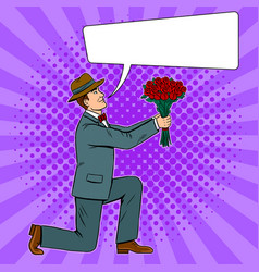 man gives flowers bouquet pop art vector image