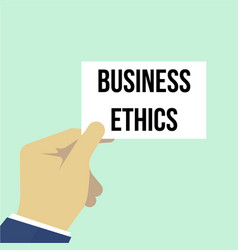 Man showing paper business ethics text vector