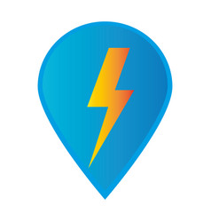 Mark icon pointer gps with lightning icon vector