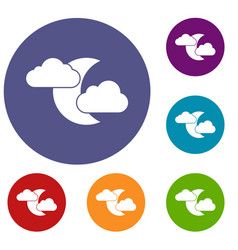 moon and clouds icons set vector image
