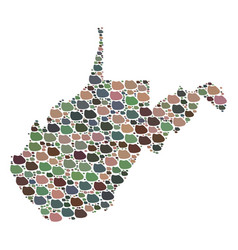 Mosaic map of west virginia state of stones vector
