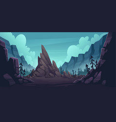 mountain landscape with forest and lonely cliff vector image
