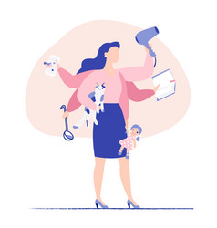Multitasking business woman with six hands vector