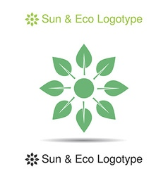 nature logo icon symbol sun from leaves vector image