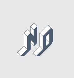 Nd - monumental logo or 2-letter code isometric vector