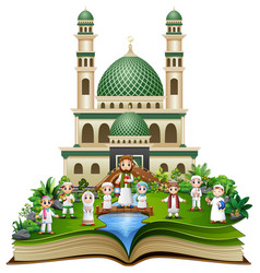 Open book with happy muslim family in front of a m vector