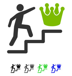 Person steps to crown flat icon vector