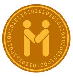 persons handshake digital coin vector image