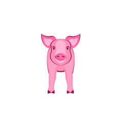 pink pig front view isolated on white animal vector image