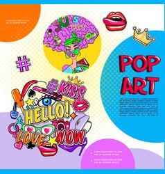 pop art girl fashion badges template vector image
