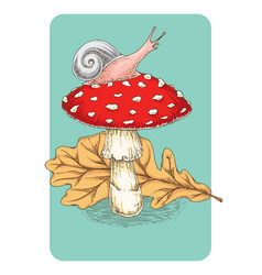 Postcard fly agaric mushroom leaf and snail vector