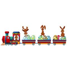 Rabbit and train vector image