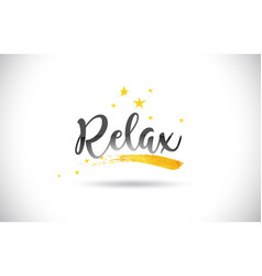 Relax word text with golden stars trail and vector