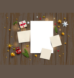 Rustic wood holiday template vector