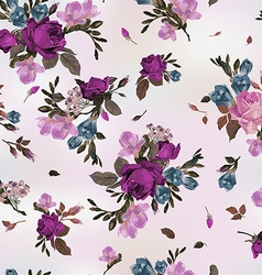 Seamless floral pattern with purple and pink roses vector