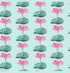 seamless pattern with watercolor lotus flower vector image