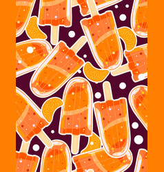 seamless sweet pattern with popsicles and citrus vector image
