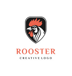 security shield with rooster head logo design vector image