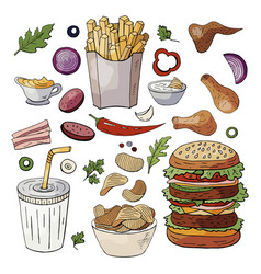 Set fast food color elements sandwiches vector