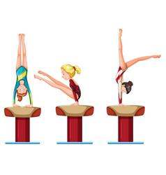 set female gymnastics athletes character vector image