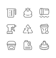 set line icons polyethylene or polythene vector image