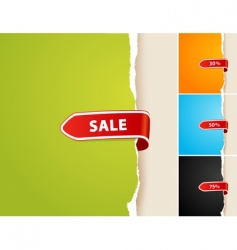set of 4 teared papers with sale bar vector image