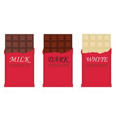 set of chocolate bar milk dark and white vector image