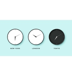 Set of day and night clock for time zones vector