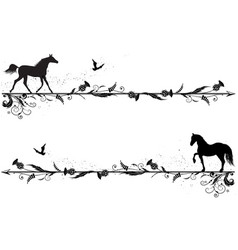Set of dividers with horses vector