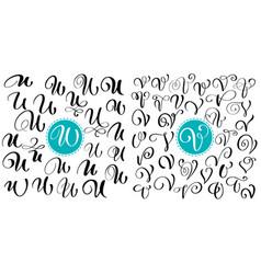 Set of hand drawn calligraphy letter u v vector