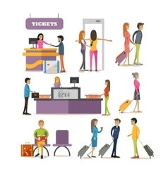set of people characters in airport vector image