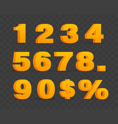 set of volumetric shiny numbers and percent sign vector image