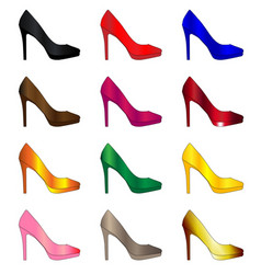 Several stiletto heel shoes vector