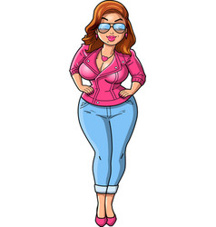 Sexy curvy bbw woman cartoon pink leather jacket vector