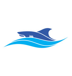 shark on waves blue sea logo icon design vector image
