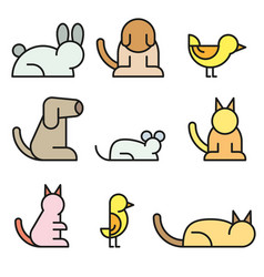simple set pet related line icons vector image